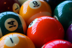 Billiard balls. Colorful Billiard balls on table Stock Photo