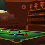 Billiard balls composition on green pool table Stock Photography