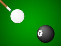 Billiard balls with cue Stock Photos