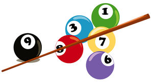 Billiard balls and cue Stock Photography