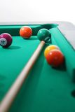 Billiard balls and cue Royalty Free Stock Image