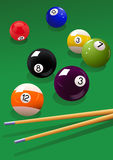 Billiard_balls_and_cue Imagenes de archivo