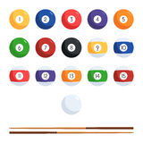 Billiard balls and cue. Colored billiard balls with numbers and cue. The character set of balls for the pool. Vector illustration in flat style isolated on white Stock Illustration
