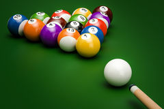 Billiard balls with cue, 3D rendering vector illustration