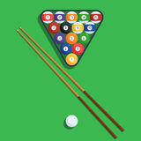 Billiard balls and cue on green background. Billiard balls in the triangle rack and cue on green table. Vector illustration of a pool or billiard elements set Stock Photos