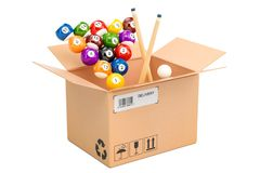 Billiard balls with cue inside parcel. 3D rendering. Isolated on white background Royalty Free Stock Photography