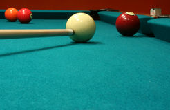 Billiard Balls and cue stick Stock Image