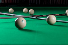 Billiard balls and cues Royalty Free Stock Photography