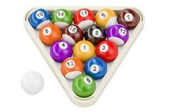 Billiard balls, 3D rendering. Isolated on white background Royalty Free Stock Photo