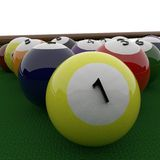 Billiard balls, 3d rendering. Billiard balls, with number 1 in close up, 3d rendering Stock Photos