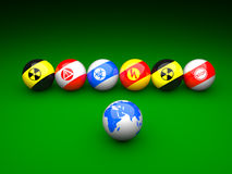 Billiard balls with danger signs Stock Photography