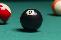 Billiard balls. focus on the eight ball Royalty Free Stock Photos