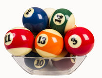 Billiard balls in a glass bowl Stock Image