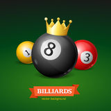 Billiard Balls with Golden Crown. Vector Royalty Free Stock Photography