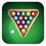Billiard balls. On a green background Vector Illustration
