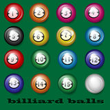 Billiard balls. On a green background Stock Illustration