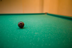 Billiard balls on green baize in the game of pyramid Royalty Free Stock Photography