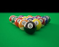 Billiard balls on green billiard table. 3d illustration high resolution stock illustration