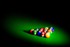 Billiard balls on green cloth Stock Image