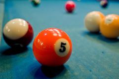 Billiard. Balls on a green felt pool table Stock Image