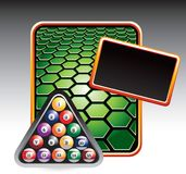 Billiard balls on green hexagon template Stock Image