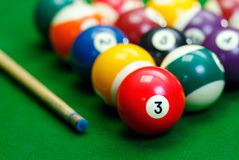 Billiard balls in a green pool table Stock Images