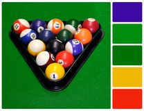 Billiard balls in a green pool table with palette color swatches Royalty Free Stock Images