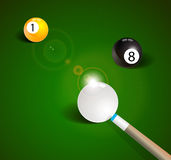 Billiard balls in a green pool table Stock Photography