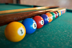 Billiard balls on green table. Billiard balls in a row on green table Royalty Free Stock Images