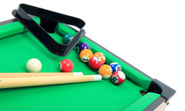 Billiard balls on green table stock images