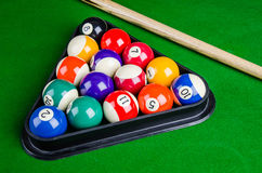 Billiard balls on green table with billiard cue, Snooker, Pool. Stock Photo