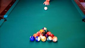 Billiard balls on the green table stock footage