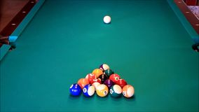Billiard balls on the green table stock video footage