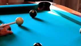 Billiard balls on the green table stock video