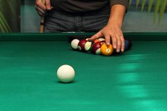 Billiard balls on green table and white ball Royalty Free Stock Photo