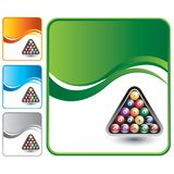Billiard balls on green wave backdrop Royalty Free Stock Images