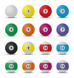 Billiard balls. Illustration of a set with 16 billiard balls Stock Image