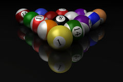 Billiard balls isolated on black background Stock Photo