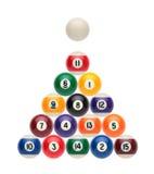 Billiard balls like a Christmas tree. Billiard balls on a white background like a Christmas tree royalty free stock image