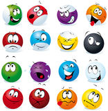 Billiard balls with many expressions Stock Photo
