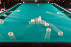 Billiard balls in motion. Pool table and billiard balls in motion Royalty Free Stock Photos