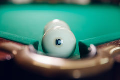 Billiard balls near pocket Royalty Free Stock Images