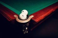 Billiard balls near pocket Royalty Free Stock Image