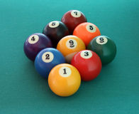 Billiard balls nine Stock Photos