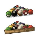 Billiard balls with number in triangle with shadow. Vintage engraving. Billiard balls with number in triangle with shadow. Vintage color engraving illustration Royalty Free Stock Photography