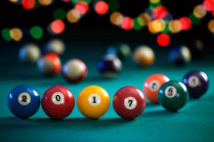 Billiard balls with numbers New Year. And colorful garlands Royalty Free Stock Image
