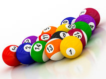 Billiard balls with numbers. On a white background Stock Illustration