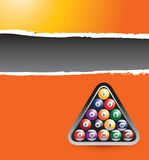 Billiard balls orange ripped banner Stock Images
