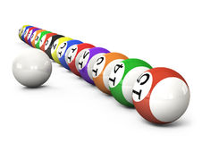 Billiard balls out of American billiards. On a white background Stock Images