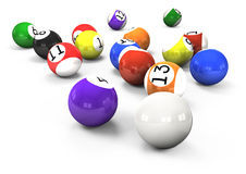 Billiard balls out of American billiards Stock Image